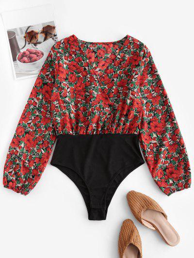 Plunging Neckline Floral Print Bodysuit - Red S