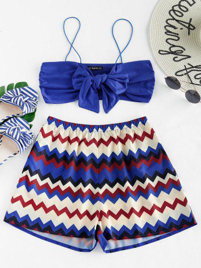ZAFUL Tie Front Top And Zigzag Shorts Set - Cobalt Blue Xl