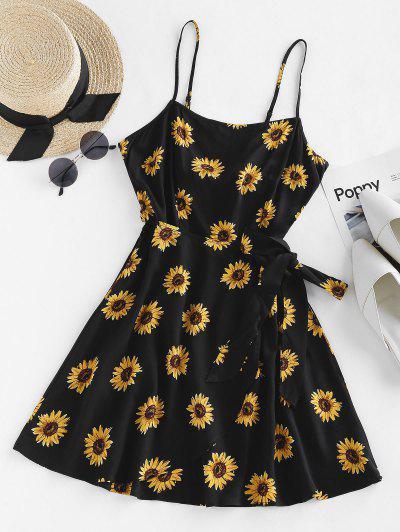 ZAFUL Sonnenblumenmuster Rückenfreies Slip Kleid - Schwarz M