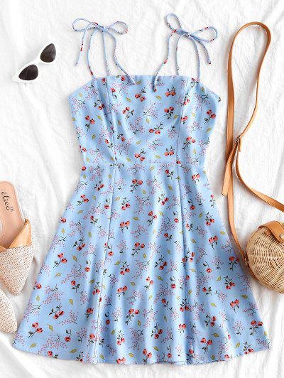 Tiny Floral Tie Strap Flare Dress - Powder Blue S