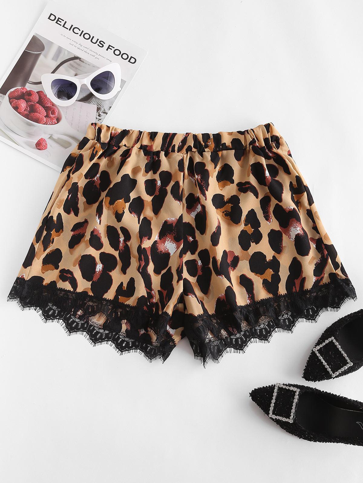 Leopard Print Eyelash Lace Shorts