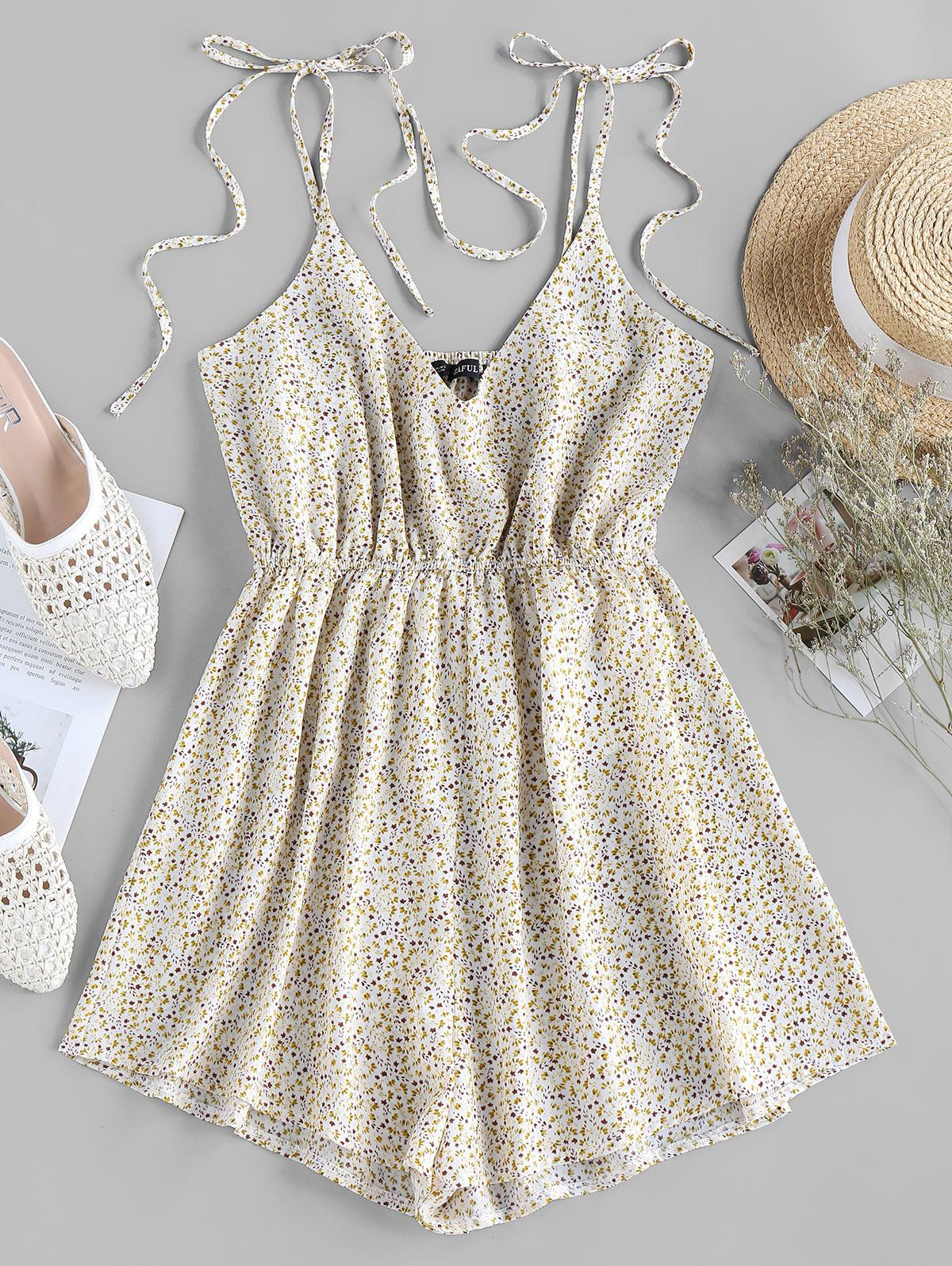 ZAFUL Tie Shoulder Ditsy Print Romper
