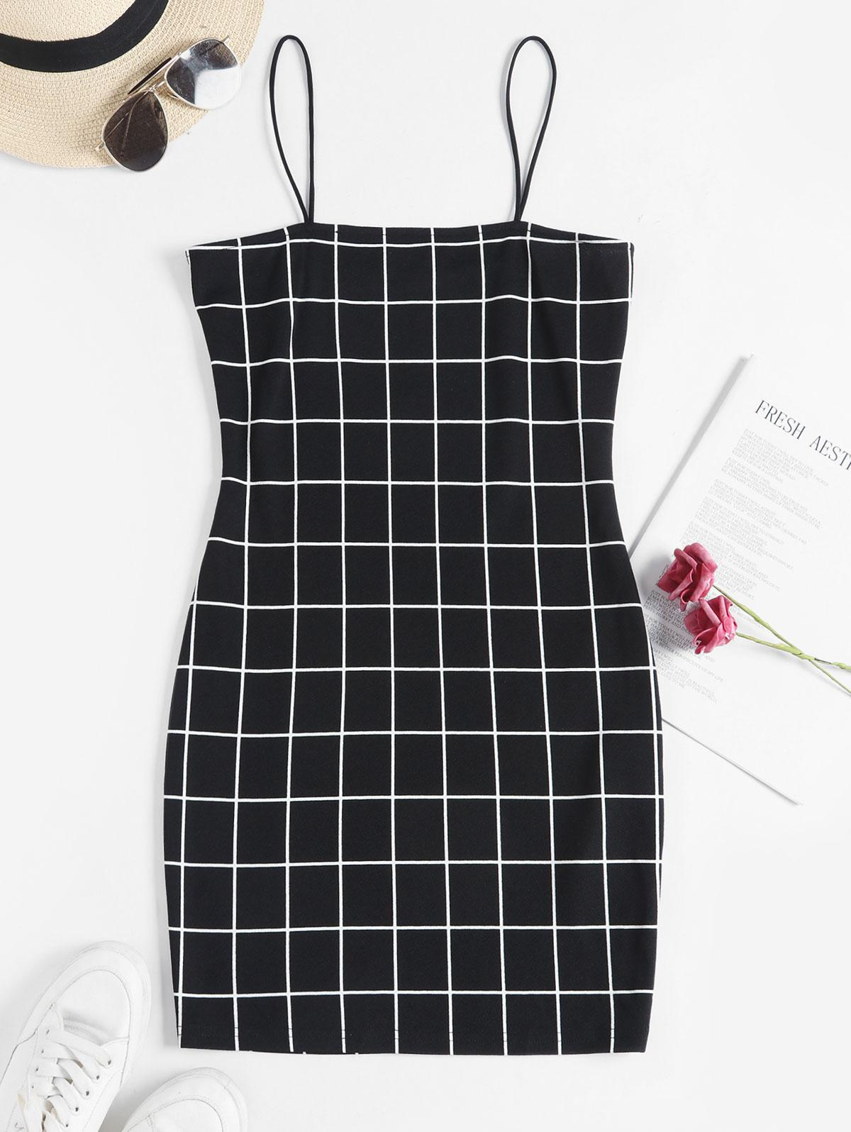 ZAFUL Windowpane Check Bodycon Cami Dress