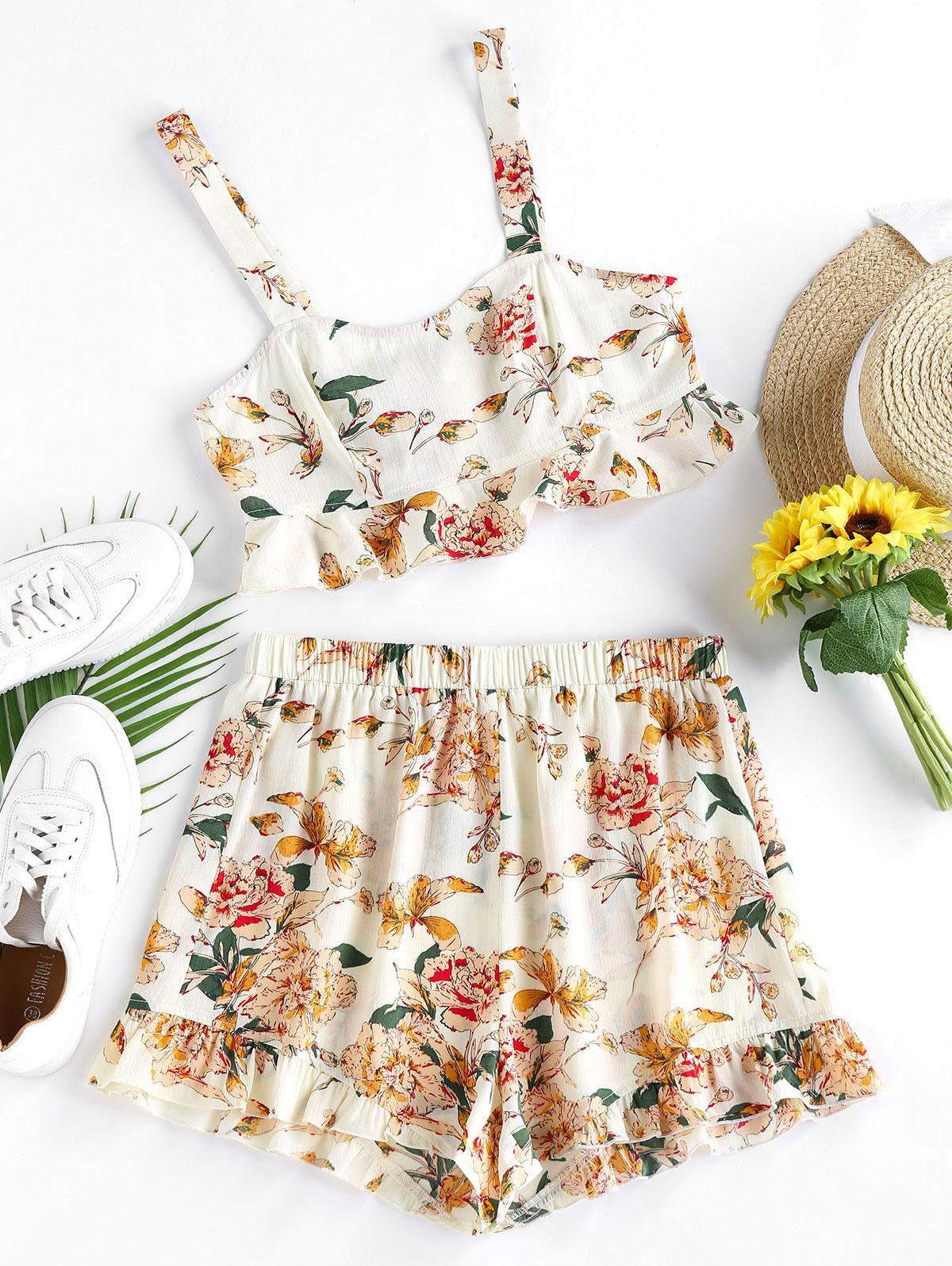ZAFUL Flounce Floral Print Two Piece Set