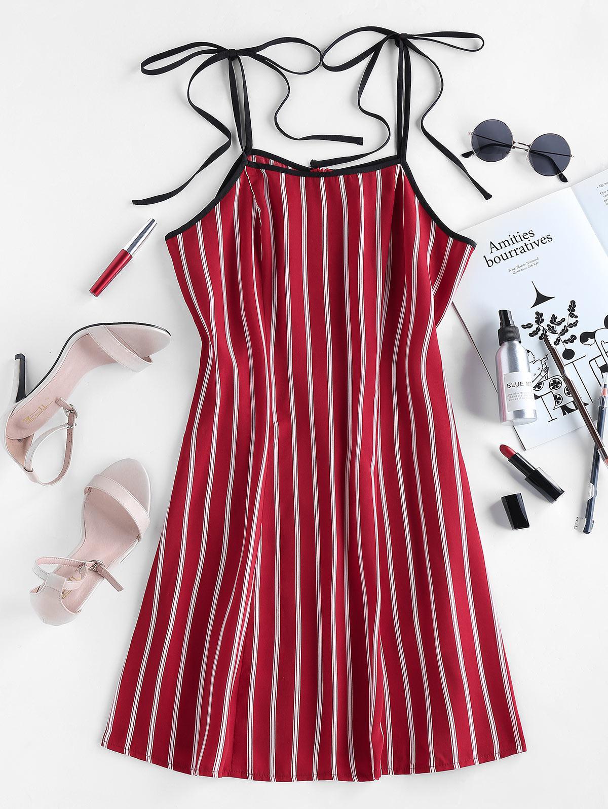 ZAFUL Stripe Tie Shoulder Mini A Line Dress