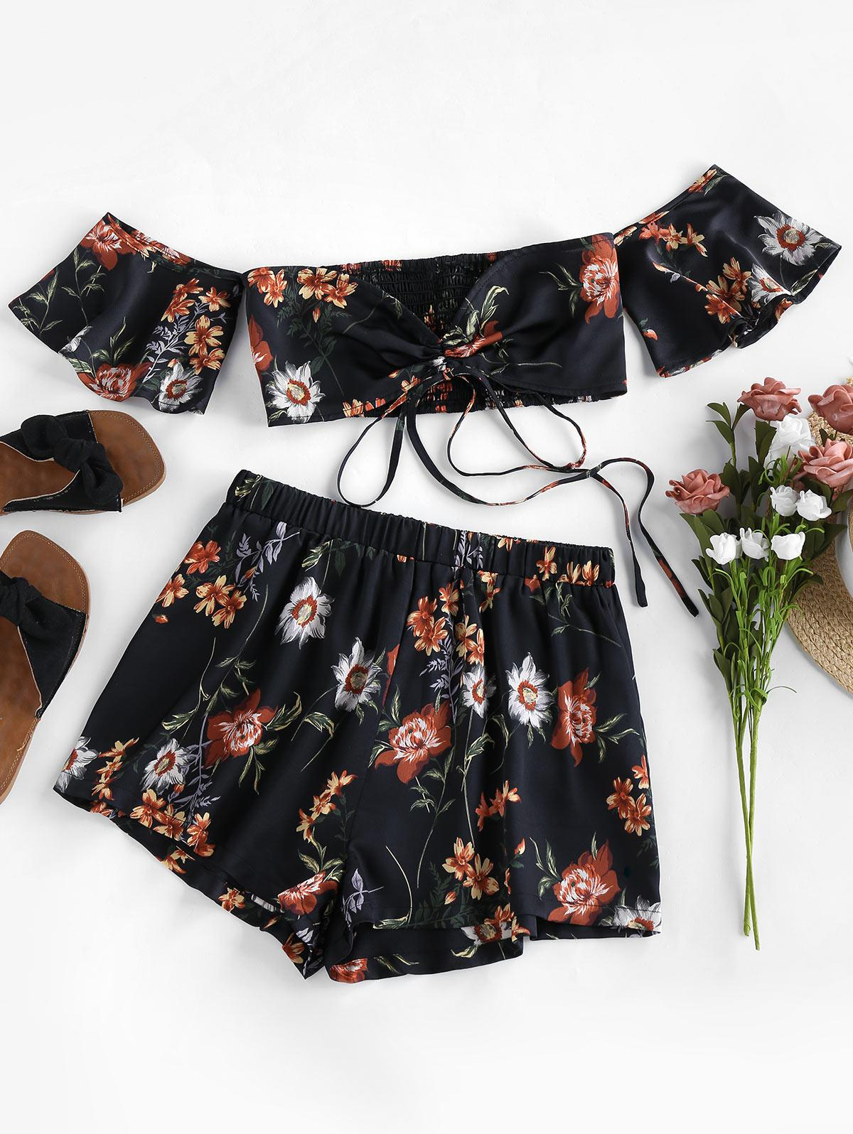 Cinched Floral Print Off Shoulder Two Piece Set