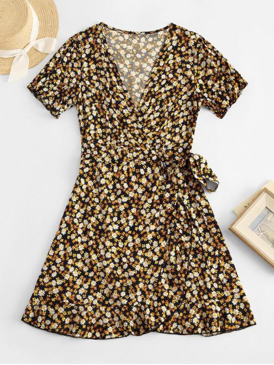 unique ZAFUL Daisy Floral Wrap Mini Dress - MULTI-A XL