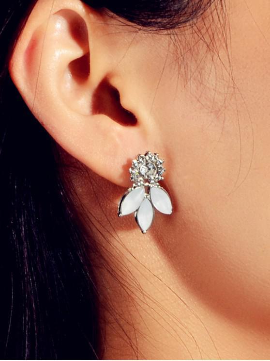 Pendientes de diamantes de imitación de flores - Plata