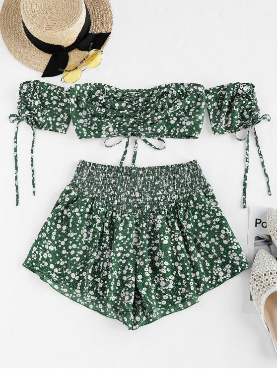 ladies ZAFUL Cinched Ditsy Print Off Shoulder Shorts Set - DEEP GREEN M