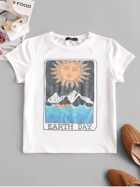 ladies ZAFUL Sun Mountain Graphic Earth Day Tee - WHITE L Mobile