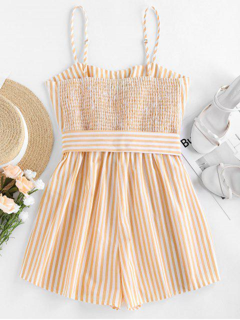 shop ZAFUL Belted Stripe Cami Romper - RUBBER DUCKY YELLOW S Mobile