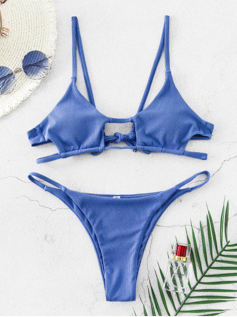 best Jessica Stockstill x ZAFUL Cutout Ribbed Bikini Swimsuit - BLUE KOI S Mobile