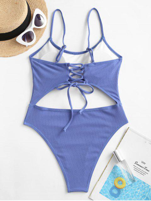 shop Jessica Stockstill x ZAFUL Lace-up Cutout Ribbed One-piece Swimsuit - SKY BLUE S Mobile