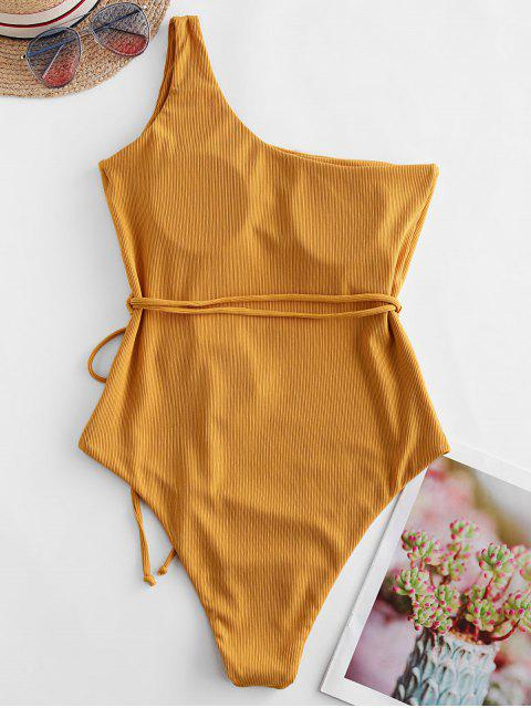 womens Jessica Stockstill x ZAFUL One Shoulder Belt Ribbed One-piece Swimsuit - GOLDEN BROWN S Mobile