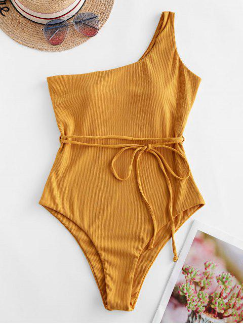 women Jessica Stockstill x ZAFUL One Shoulder Belt Ribbed One-piece Swimsuit - GOLDEN BROWN M Mobile