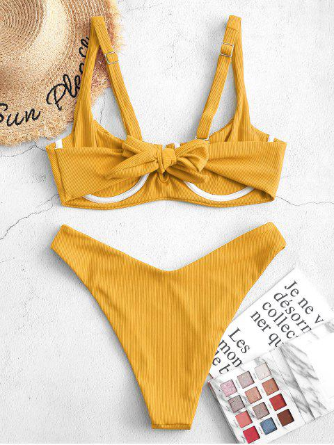 outfits Jessica Stockstill x ZAFUL Ribbed Underwire Smocked Balconette Bikini Swimsuit - GOLDEN BROWN M Mobile