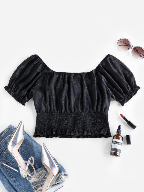 new ZAFUL Puff Sleeve Jacquard Smocked Crop Blouse - BLACK S Mobile