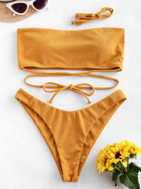ZAFUL X Bikini a Fascia Elastica con un Cordoncino - Senape S Mobile