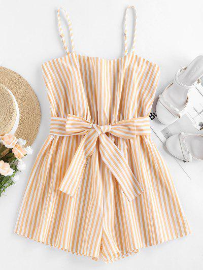 ZAFUL Belted Stripe Cami Romper - Rubber Ducky Yellow S