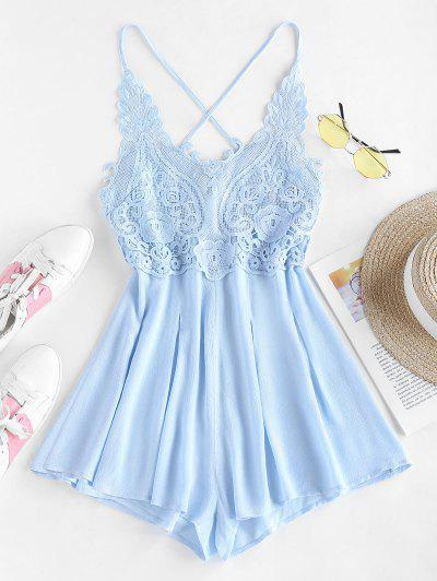 ZAFUL Lace Up Lace Insert Cami Romper - Baby Blue S