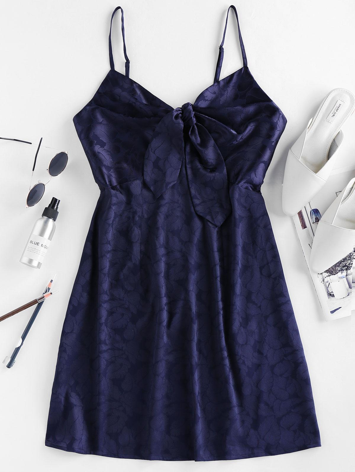 ZAFUL Tie Front Jacquard Mini Cami Dress