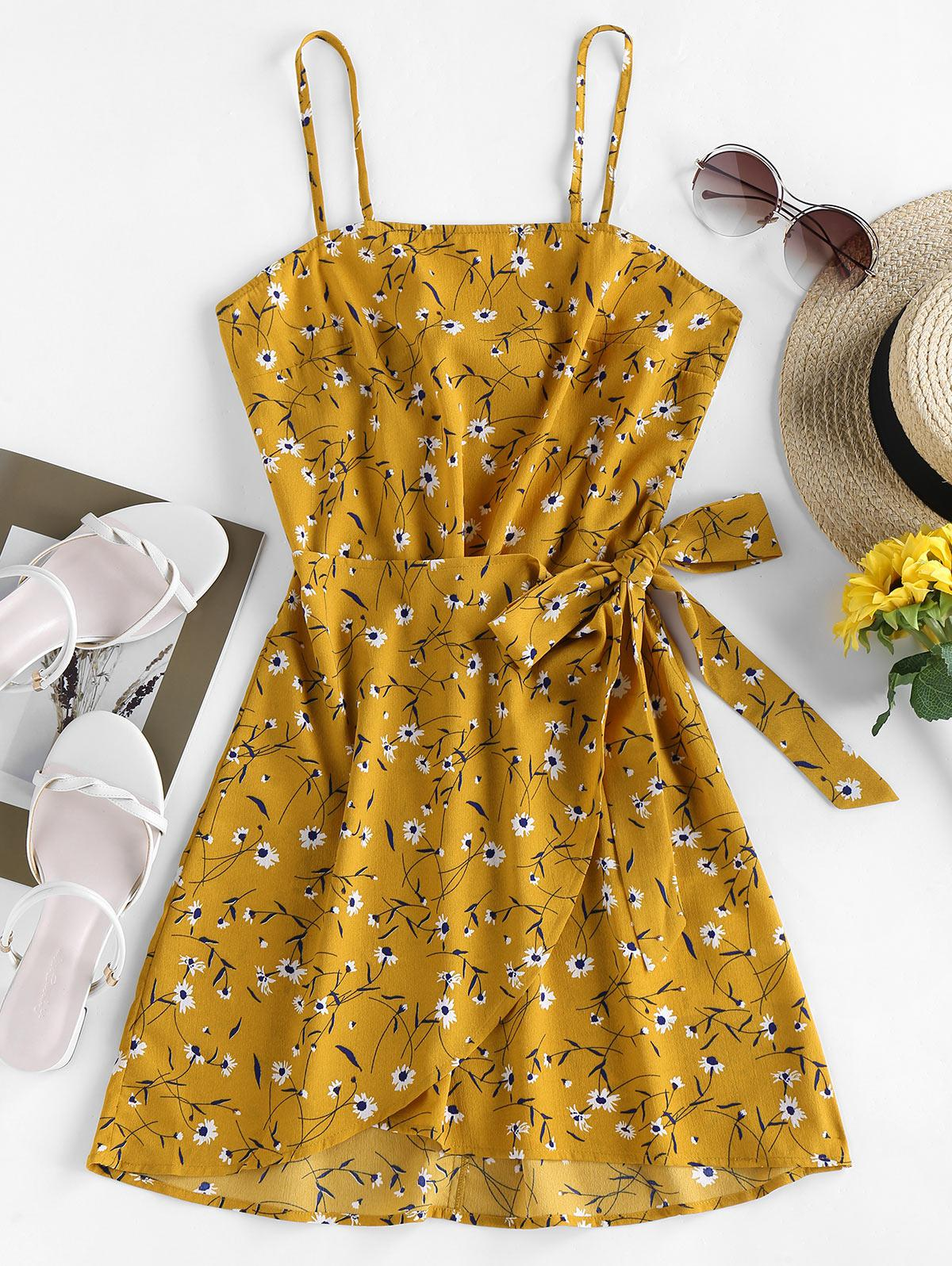 ZAFUL Tied Cutout Ditsy Print Mini Dress