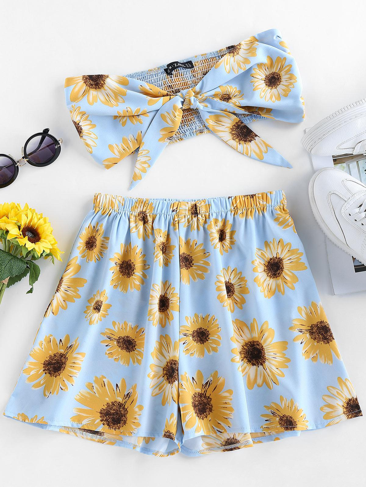 ZAFUL Tie Front Sunflower Print Co Ord Set