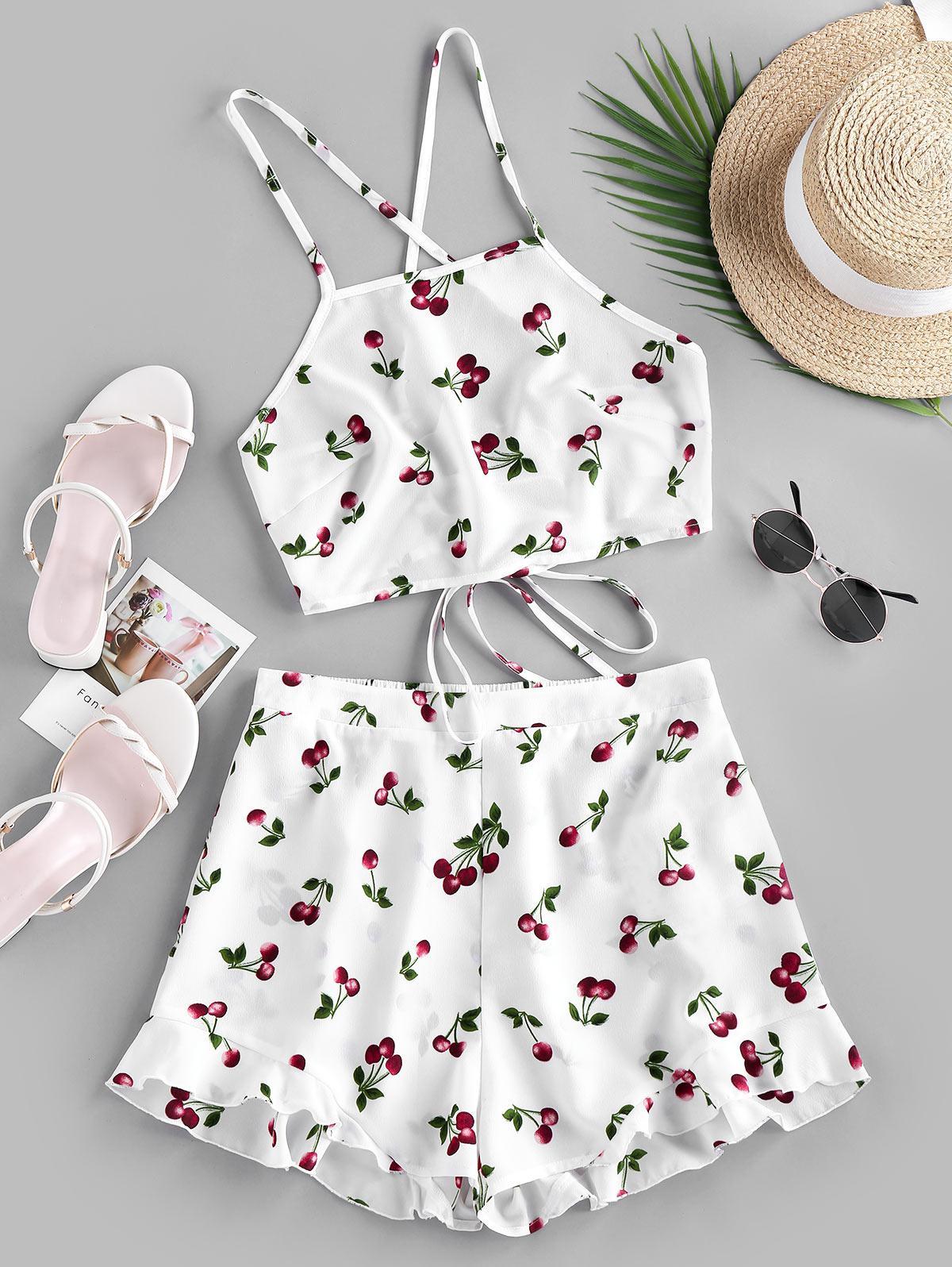 ZAFUL Cherry Print Lace Up Co Ord Set