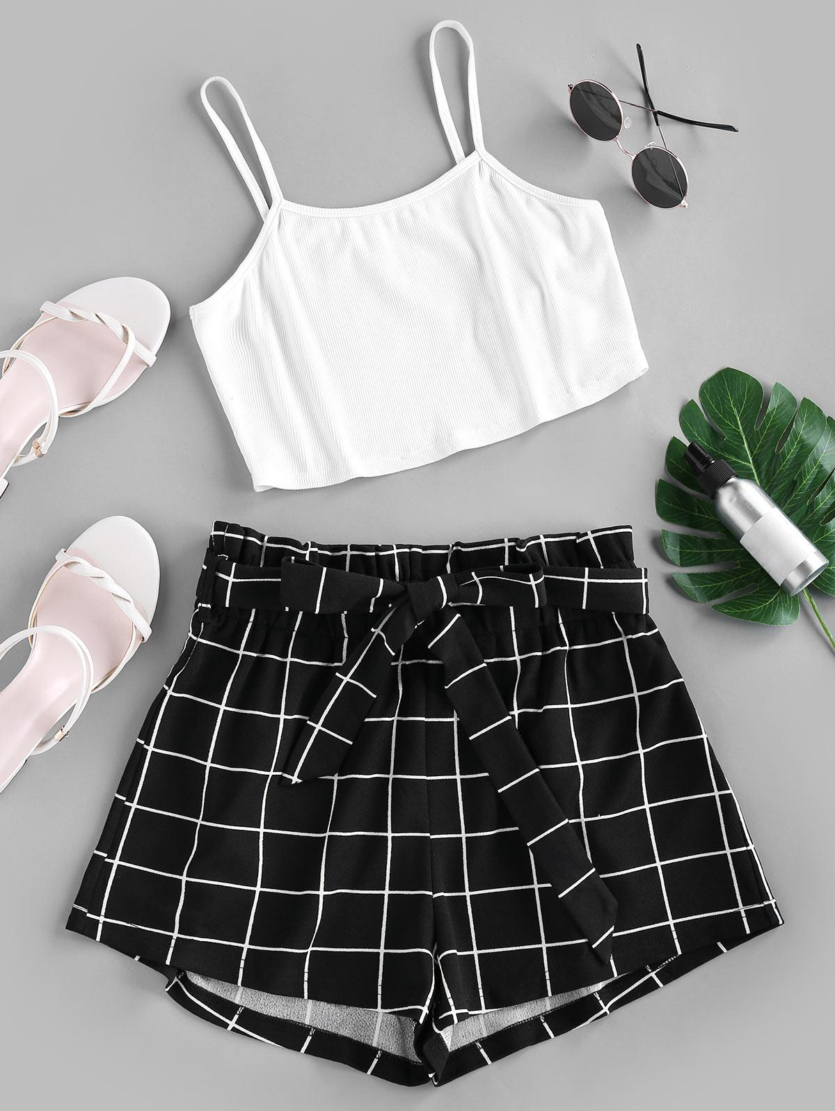 ZAFUL Crop Top and Grid Shorts Two Piece Set thumbnail