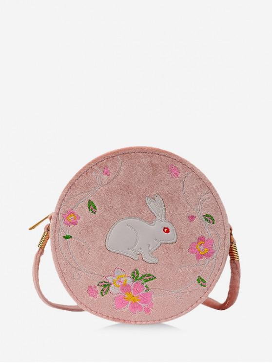 Bordado Floral Conejo Bolsa de Cantina - Rosa Khaki