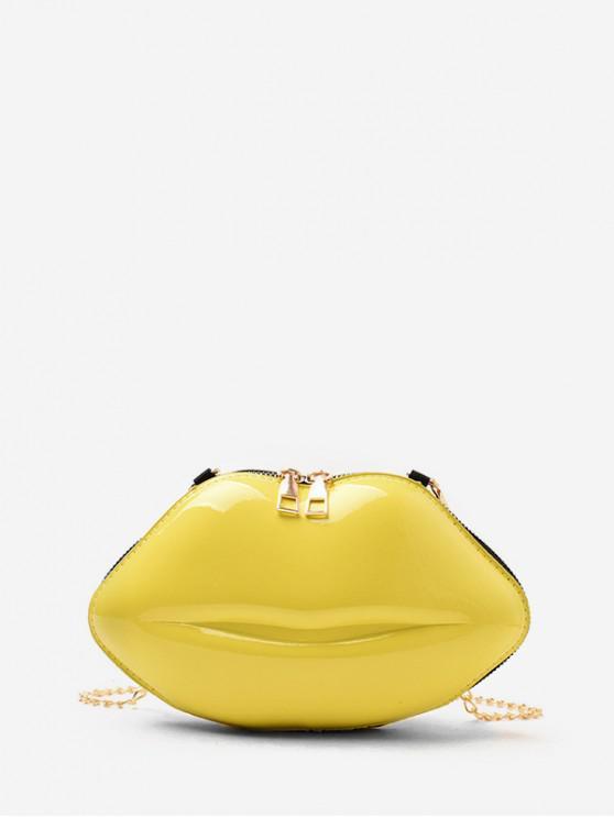 Bolsa Cadena Cruzada Forma Labios - Amarillo