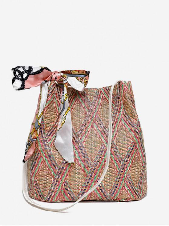 new Rhombus Pattern Ribbon Bow Decor Woven Shoulder Bag - WATERMELON PINK