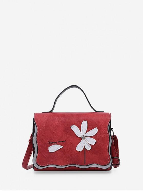 Bolsa Cuero Costura Flor Cuerpo Cruzado - Castaño Rojo