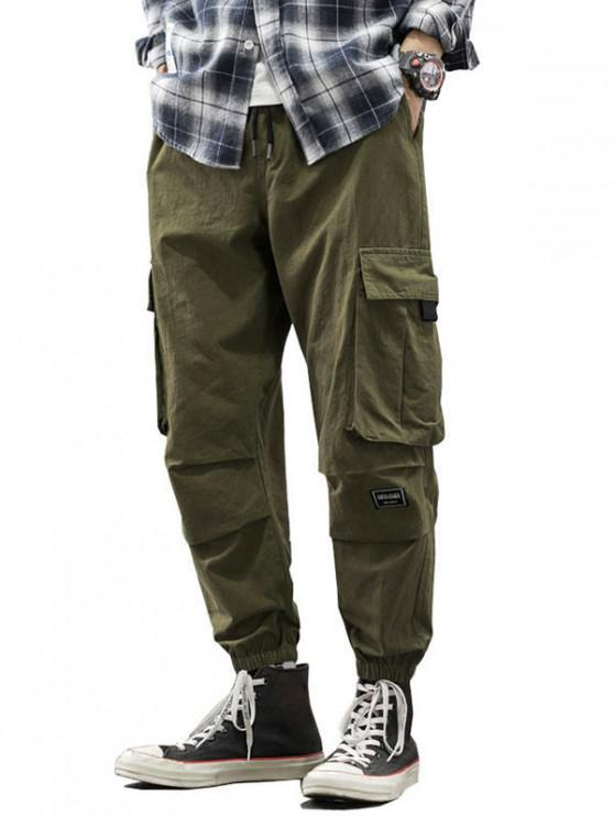 affordable Drawstring Letter Appliques Cargo Jogger Pants - ARMY GREEN M