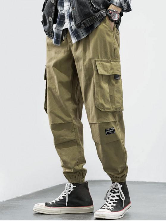 lady Drawstring Letter Appliques Cargo Jogger Pants - GINGER BROWN M