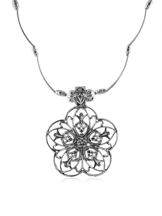 affordable Retro Hollow Out Flower Necklace - SILVER