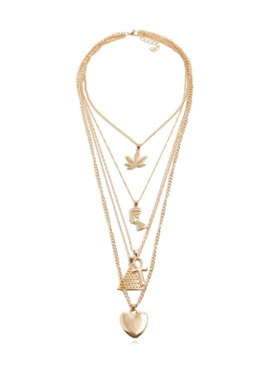 buy Multilayered Heart Geometric Pendant Necklace - GOLD