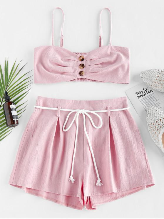 trendy ZAFUL Buttons Smocked Cami Top Two Pieces Set - PINK ROSE XL