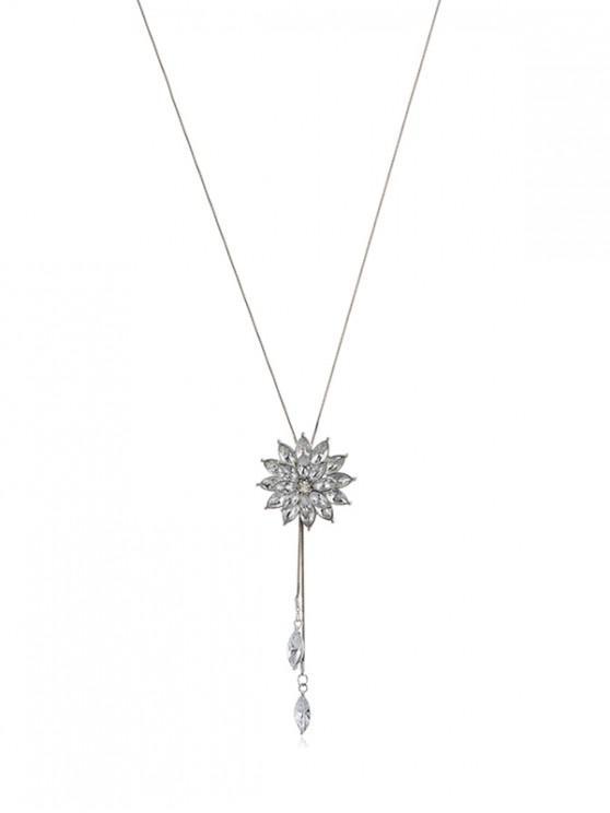Collar Gemas Falsas Pendiente Cristal - Plata