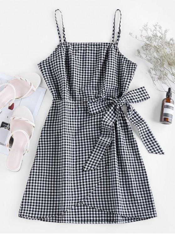 sale ZAFUL Plaid Pattern Mini Slip Dress - BLACK S