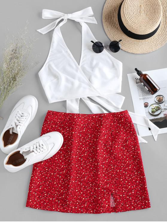 affordable ZAFUL Halter Self Tie Top with Print Skirt Two Pieces Set - LAVA RED XL