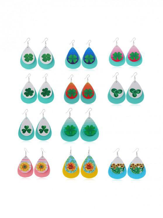 fashion 11Pairs Clover Sunflower Print Earrings Set - MULTI