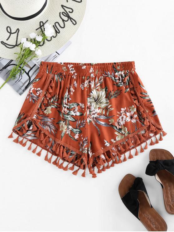ZAFUL Shorts de Delfín con Flecos Florales - Rojo Cereza S