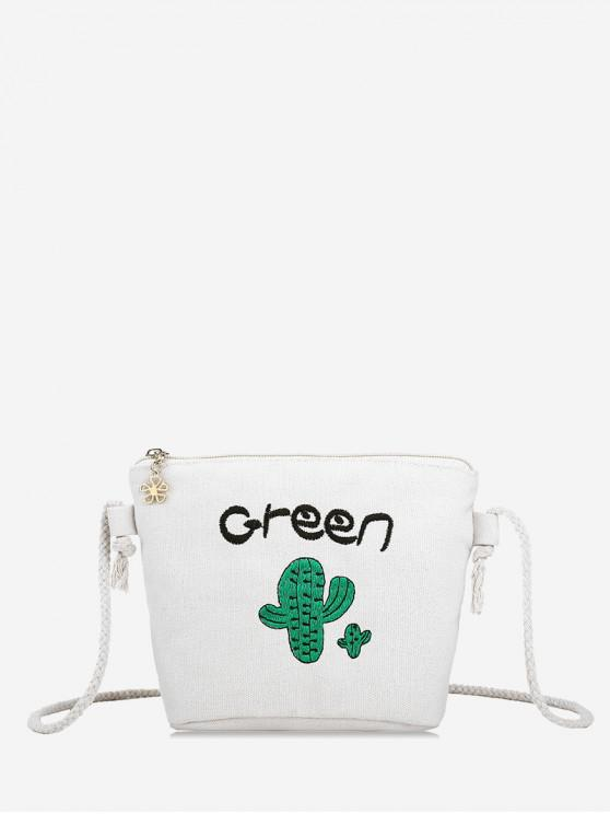 trendy Embroidery Cactus Rope Crossbody Bag - WARM WHITE