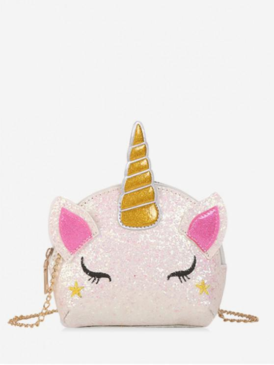 unique Chain Cartoon Unicorn Sequins Crossbody Bag - WHITE