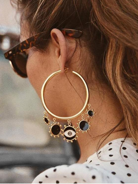 affordable C-shape Eye Pattern Stud Earrings - GOLD