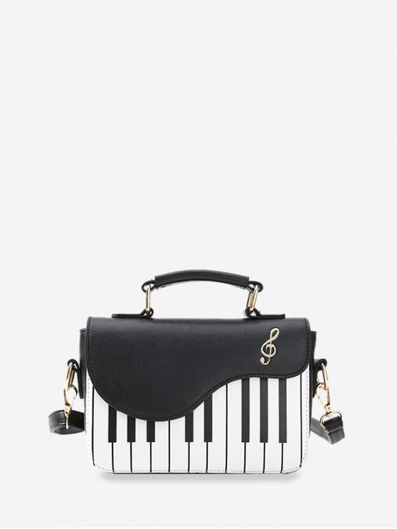 shop Piano Pattern Cover Crossbody Bag - BLACK