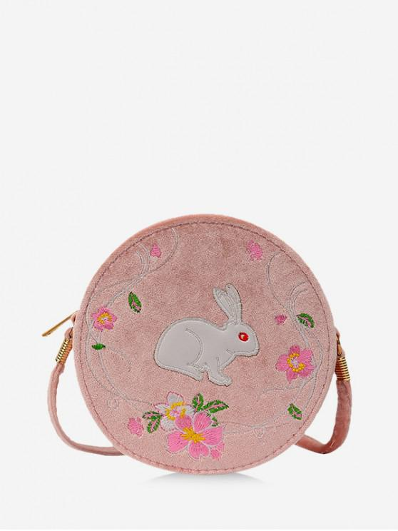 shops Embroidery Floral Rabbit Canteen Bag - KHAKI ROSE