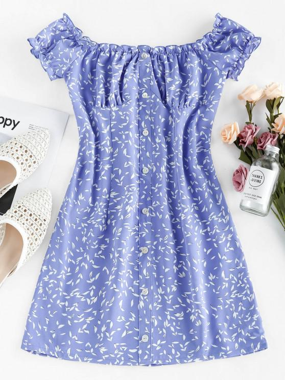 ZAFUL frunze de imprimare butoane de pe umărul rochie mini - Albastru deschis S