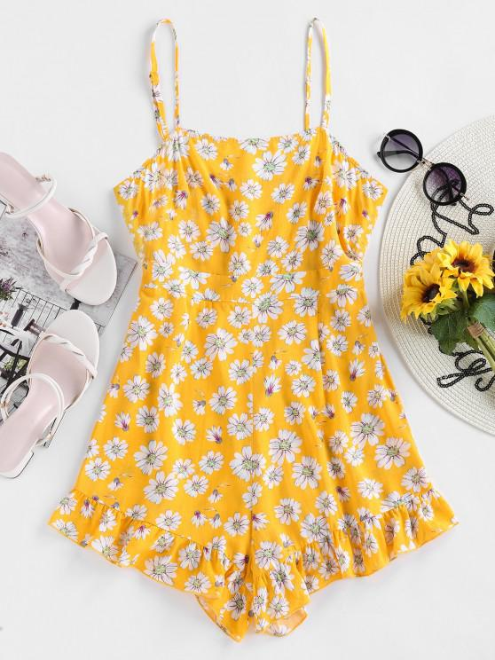 hot ZAFUL Daisy Floral Print Flounce Cami Romper - YELLOW S